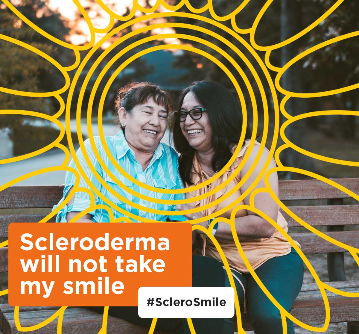 Scleroderma will not take my smile; ladies smiling