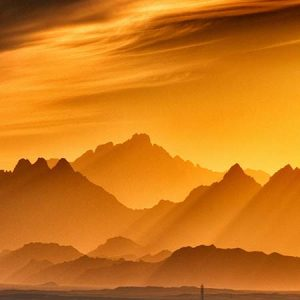 Landscape of yellow and orange mountains