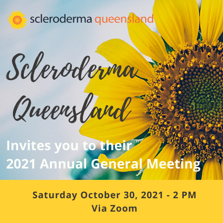 Scleroderma QLD AGM invitation with a sunflower
